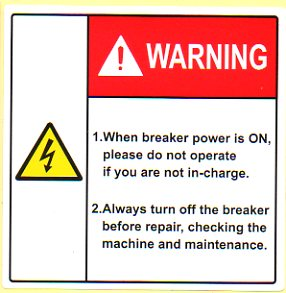 Power warning label